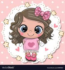 cute cartoon with pink bow royalty
