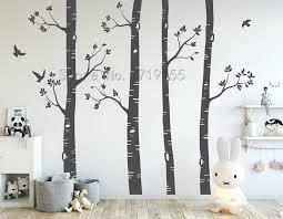 Nursery Wall Stickers Birch Trees Wall Decals Large Tree Wall Mural Set Of 4 Trees Birds Nursery Baby Room Wall Decoration Zw489 Aliexpress