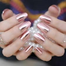 Metalowe Lustro Falszywe Paznokcie Moda Rozowy Paznokcie Akrylowe