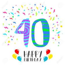 Numero 40 Del Feliz Cumpleanos Tarjeta De Felicitacion Durante