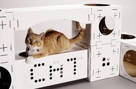 blocks les maisons pour chat en carton