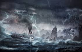 wallpaper wave storm rocks lightning