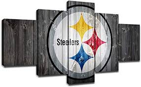 Amazon Com Pittsburgh Steelers Team Logo Wall Decor Art Paintings 5 Piece Canvas Picture Artwork Living Room American Football Prints Poster Decoration Wooden Framed 60 Wx32 H Posters Prints