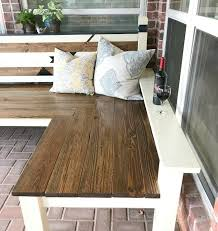 l shaped diy backyard bench just 130