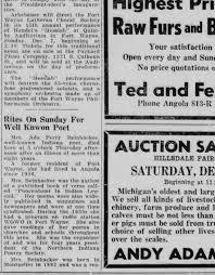 Ada (Perry) Beinhacker Obituary; Angola Herald (Angola, IN); 3 Dec 1952,  p13 - Newspapers.com