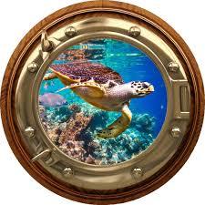 Amazon Com 18 Port Scape Coral Reef Hawksbill Sea Turtle Porthole Brasswood 3d Window Wall Decal Vinyl Sticker Ocean Fish Under Water Sea Life Beach Kids Room Decor Home Improvement
