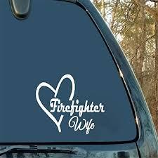 Amazon Com Gaoeer Car Sticker Car Decal 12x8 7cm Fireman Wife Love Heart Fashion Decals Car Sticker Home Kitchen