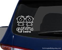 Grandma Of Twins White Vinyl Car Decal Baby Version Twin Boys Twin Girls Boy Girl Twins Car Decals Vinyl Car Decals Boy Girl Twins