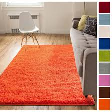 Solid Retro Modern Orange Shag Rug Plain Ebay Area Rugs Cheap Solid Color Area Rugs Solid Area Rugs