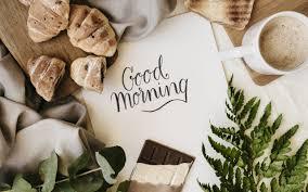 تحميل خلفيات صباح الخير الإفطار القهوة تزايد الشوكولاته عريضة