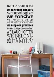 Amazon Com In This Classroom We Respect Are Family Wall Decal Study Learn Education Knowledge Words Vinyl Sticker Saying Art Quote Decorations For School Room College Decor Ed17 Arts Crafts Sewing