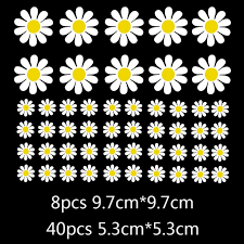 Wholesale Car Rearview Mirror Window Body Bumper Light Eyebrow Fuel Tank Cap Decal Sticker Scratch Cover Daisy Flower As Shown From China