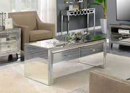 loughton mirrored two drawer coffee