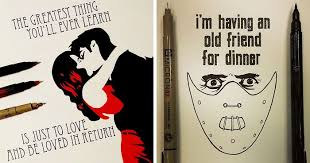 artist spends days hand drawing movie quotes bored panda