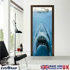 Jaws Movie Self Adhesive Door Wrap Wall Fridge Skin Mural Sticker Decal Ebay