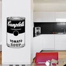 Campbell S Soup Wall Decal Andy Warhol Wall Art Mural Iconic Retro Pop Culture Sticker Decals Kitc Mural Wall Art Retro Pop Home Decor Decals