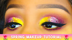 pink yellow sparkly cut crease
