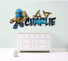 Amazon Com Kapowboom Graphics Lego Ninjago Jay Blue Personalized Customized Children S Wall Sticker Decal Art Mural Bedroom 3 Size Options Small 72cm Wide Home Kitchen