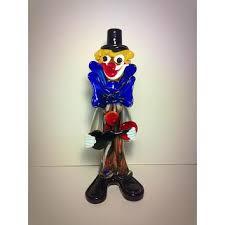 murano hand blown glass clown statue