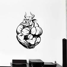 Bodybuilding Angry Bull Wall Decal Gym Fitness Muscles Animals Vinyl Wall Sticker For Living Room Modern Office Decoration W532 Wall Stickers Aliexpress