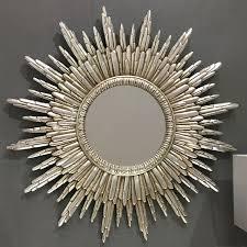 round silver sunburst wall mirror 89 x