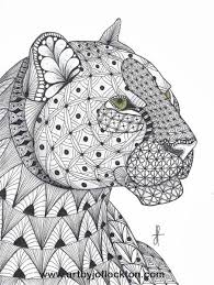 Tangled Leopard Abstract Doodle Zentangle Coloring Pages Colouring