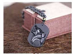 black obsidian carving wolf head amulet