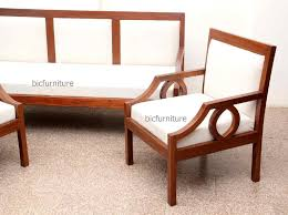 sleek wooden sofa set with fixed