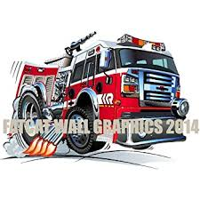 Amazon Com Firetruck 1 Wall Decal 3ft Long Fire Truck Firefighter Graphic Vinyl Childrens Removable Reusable Kids Room Man Cave Garage Den Art Sticker Decor Baby
