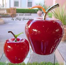 glass fruit red apple oversized by