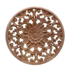 Carved Flower Carving Round Wood Appliques For Furniture Cabinet Unpainted Wooden Mouldings Decal Decorative Figurine15x15x2cm Wall Art Decal Stickers Wall Art Decals From Baibuju8 23 34 Dhgate Com