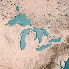 Great Lakes 3D Render Topographic Map ...