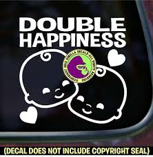 Double Happiness Twins Decal Sticker Babies Baby Twin On Board Car Wall Sign For Sale Online Ebay