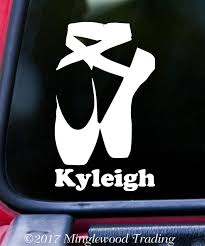 Ballet Shoes Vinyl Decal Sticker W Personalized Name 6 X 3 5 Pointe Slippers Minglewood Trading
