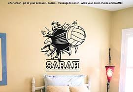Amazon Com Wall Decal Vinyl Sticker Decals Art Decor Design Volleyball Ball Player Sport Game Girl Team Beach Custom Name Dorm Bedroom Fashion R620 Please Message Your Custom Name After Order Home Kitchen