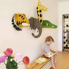 Felt Animal Head Cozy Nursery Kids Room Wall Decor Animal Head Wall Hanging Kids Wall Decor