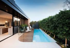 Oftb Melbourne Landscaping Pool Design Construction Project Plunge Pool Inc Water Wall Timber Pool Deck Custom Curved Glass Frameless Pool Fence Entertaining Terrace Built In Bbq Garden Beds
