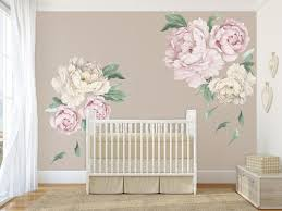 6 Peonies Blooms Wall Mural Flowers Pink White Nursery Wall Decals Girl Floral Wall Decals Nursery Decor Trends