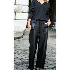 classic female fashion wide leg leather