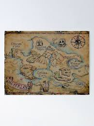 Neverland Map Vintage Poster By Livelifemichell Redbubble