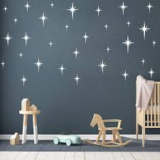 Amazon Com Retro Star Vinyl Wall Decals Starbursts Wall Stickers For Nursery Kids Room Wall Decals Unique Wall Decals For Baby Girls Boys Bedroom Nursery Decor Y10 White Home Kitchen