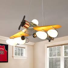 Fighter Jet Pendant Lamp Kid Cream Glass 5 Light Boy S Room Chandelier In Yellow Beautifulhalo Com