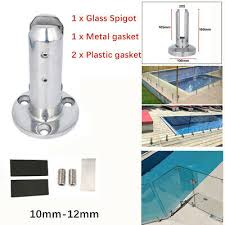 glass clamps round stair glass spigots