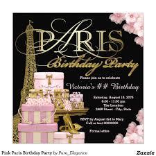 Invitacion Fiesta De Cumpleanos Rosada De Paris Zazzle Com Invitaciones Quinceanera Invitaciones Fiestas De Quinceaneras