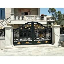 China Custom Hot Galvanized Wrought Iron Front Yard Fence With Driveway Gate China Iron Gate Rod Iron Gate