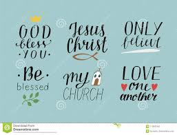 set of hand lettering christian quotes symbols god bless