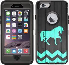 Amazon Com Teleskins Protective Designer Vinyl Skin Decals Stickers Compatible With Otterbox Defender Iphone 6 Plus Iphone 6s Plus Case Wood Teal Horse Design Patterns Only Skins And Not Case