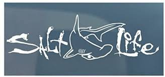 Amazon Com Salt Life Signature With Hammerhead Shark Medium 12 Auto Car Boat Decal Color White With Gift Box Kitchen Dining