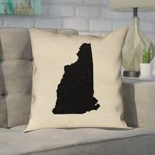 """Ivy Bronx Katelyn Smith State in Black in , Cotton Twill Double Sided  Print/Throw Pillow Ivy Bronx Size: 16"""" x 16"""", State: New Hampshire from  Wayfair North America 