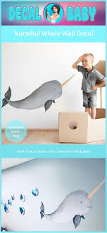 Baby Narwhal Wall Decal Sticker Ocean Sea Unicorn Nautical Nursery Room Decor Whale Wall Art Baby Shower Birthday Gift Narwhale Wall Decals Baby Wall Art Wall Decal Sticker